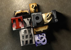 Wooden printing blocks form word 'Type'. Graphic look at type an. D typography by using the old wooden printing press blocks stock illustration