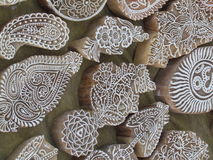 Wooden printing blocks. Indian Printing Blocks are made by Indian artisans in India  these hand carved designs are 100% sustainable and ethically sourced. Block Stock Image