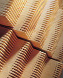 Wooden product. Board with the cut ends in a spike Stock Photography
