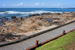 Wooden Promenade Along the Ocean in Porto Stock Photos