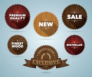 Wooden promo badges Stock Images