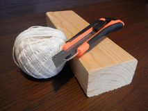 Wooden prosm with other tools for handy men Royalty Free Stock Photography