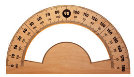 Wooden protractor isolated Stock Photos