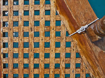Wooden prow of ancient yacht Stock Image