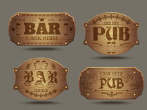Wooden pub bar signs set Royalty Free Stock Images