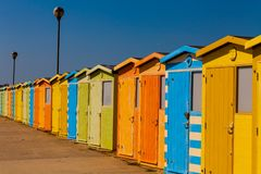 Free Wooden Public Change Rooms On The Beach. Colorful Change Rooms. Holiday Concept. Stock Photography - 139908862