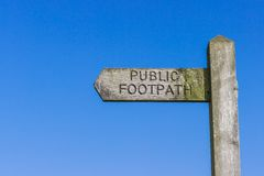 Wooden Public Footpath Sign Stock Images