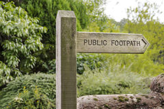 Wooden Public Footpath Sign Stock Image