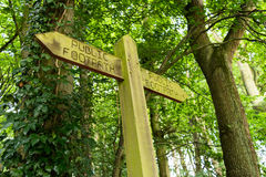 Wooden public footpath sign in the woods Stock Image