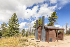 Wooden public toilet in Bryce Canyon National Park, USA. Stock Photos