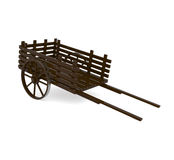 Wooden Pull Cart  on white Royalty Free Stock Photography