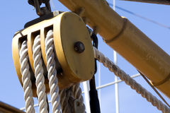 Wooden Pulley Stock Photo
