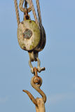 Wooden pulley with Hook Stock Photo