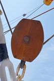 Wooden pulley Stock Images