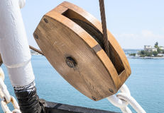 Wooden pulley Royalty Free Stock Photos
