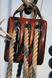 Wooden pulley on a sailboat Royalty Free Stock Photo
