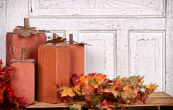 Wooden pumpkins autumn still life Stock Photos