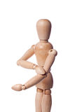 Elbow pain. Wooden puppet with elbow pain Royalty Free Stock Image