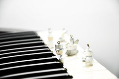 Wooden puppet play music Stock Photography