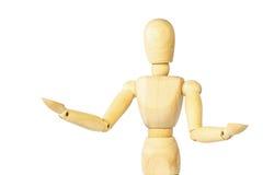 Wooden puppet show both arm  explaining something  . Isolated Royalty Free Stock Photo