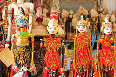 Wooden puppets. In Bandung, Indonesia. Wayang golek are wooden doll puppets that are operated from below by rods connected to the hands and a central control royalty free stock photo