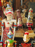 Wooden puppets. In Bandung, Indonesia. Wayang golek are wooden doll puppets that are operated from below by rods connected to the hands and a central control Royalty Free Stock Photos