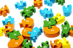 Wooden puzzle. Blocks with numbers copy Royalty Free Stock Photos
