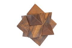 Wooden puzzle. On white background stock photography