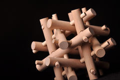 Wooden puzzle. Wooden 3-d Puzzle for children or adults Royalty Free Stock Photos