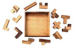 Wooden Puzzle. A wooden puzzle that hasn't been started yet Royalty Free Stock Photos