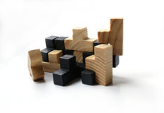 Wooden puzzle blocks on white background. With shadow Royalty Free Stock Image