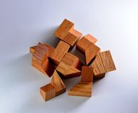 Wooden puzzle parts Royalty Free Stock Photos