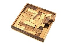 Almost. A wooden puzzle is almost finished Stock Photography
