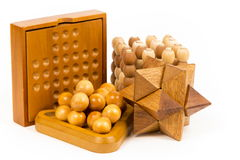 Wooden puzzle, isolated image Royalty Free Stock Photo