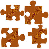 Wooden Puzzle Pieces. Isolated in white Stock Images