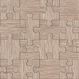 Wooden puzzles assembled for seamless background - Blasted Oak Royalty Free Stock Photography