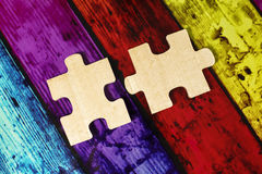 Wooden puzzles Stock Photo