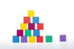 Wooden puzzles. Closeup of colorful wooden puzzles Royalty Free Stock Photos