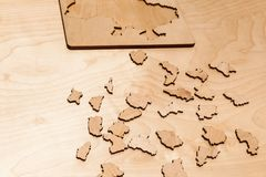 Wooden puzzles royalty free stock photos