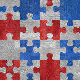 Wooden puzzles - seamless pattern - red-blue color - wood textur Stock Photo