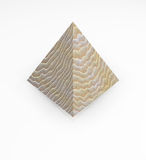 Wooden pyramid solid wood isolated. Rendering of a wooden pyramid with realistic pattern and delicate texture when closeup. Minimal shadow and reflection Stock Images