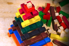 Wooden Pyramid - Toy with Colorful Pieces Royalty Free Stock Images