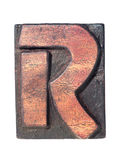 Wooden R typeface Royalty Free Stock Photo