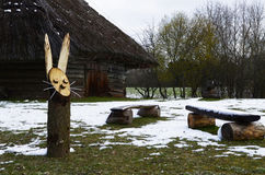 Wooden rabbit, Lithuania, Rumsiskes. Playful wooden rabbit in Rumsiskes, Lithuania Stock Images