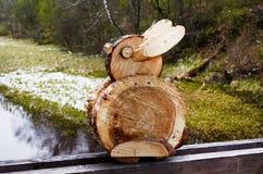 Wooden rabbit, Lithuania, Rumsiskes. Playful wooden rabbit in Rumsiskes, Lithuania Royalty Free Stock Photos