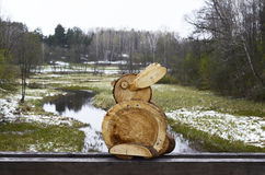Wooden rabbit, Lithuania, Rumsiskes. Single rabbit. Rumsiskes etnographic museum in Lithuania Stock Photography