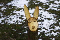 Wooden rabbit, Lithuania, Rumsiskes. Single rabbit. Rumsiskes etnographic museum in Lithuania Stock Photos