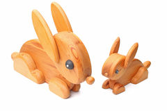 Wooden rabbits Stock Photo