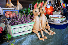 Wooden rabbits sitting Royalty Free Stock Photography