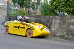 Wooden racing cars competing to win in Lecco district. Royalty Free Stock Photography